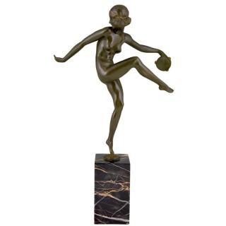 Art Deco bronze sculpture nude tambourine dancer