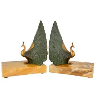 Art Deco bronze bookends peacock