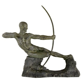 Art Deco bronze sculpture male nude archer Hercules