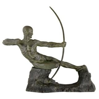 Art Deco bronze sculpture male nude archer Hercules