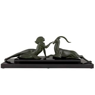 Art Deco sculpture nude with gazelle Seduction