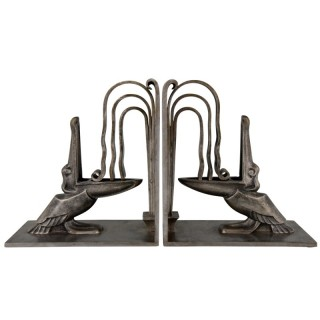 Pair Art Deco wrought iron pelican bookends