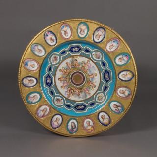 A Louis XVI Style Gueridon with Porcelain Plaques