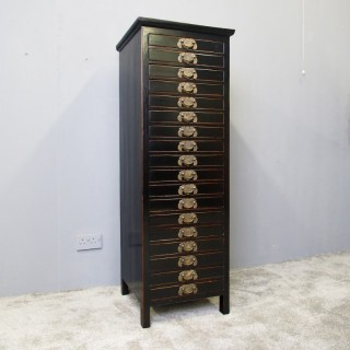 Tall Chinese Hardwood and Lacquered Filing Cabinet