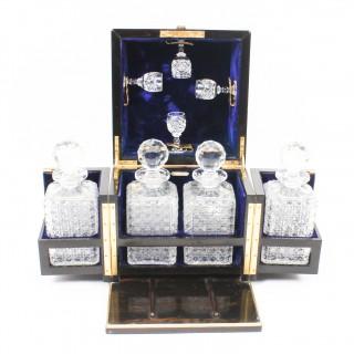 Antique Four Bottle Coromandel Decanter Box Tantalus 19th Century