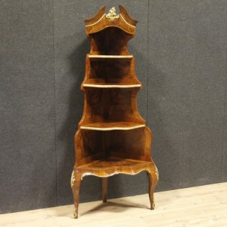 19th Century Walnut and Burl Wood French Napoleon III Corner Cupboard, 1880