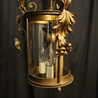 Italian Gilded Convex Triple Light Hall Lantern