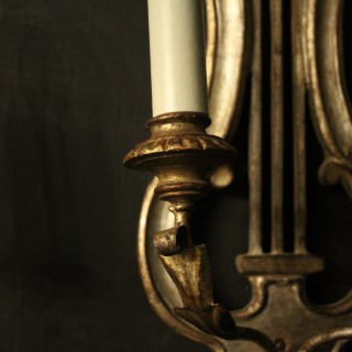 Italian Silver Giltwood Lyre Twin Arm Wall Lights