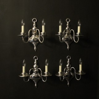 English Set Of 4 Chrome Twin Arm Wall Lights