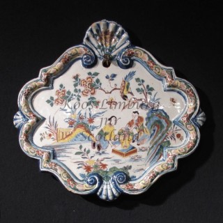 Very decorative original Dutch Delft polychrome Chinoisserie plaque, circa: 1740.