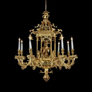 A Gilt Wood Chandelier in the Chinese Chippendale Manner