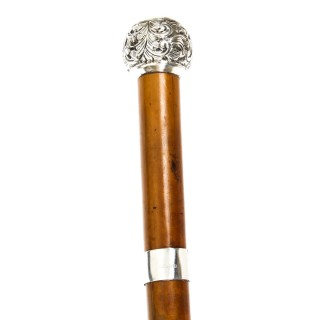 Antique Walking Stick Sword Stick Cane Silver Pommel 19th C