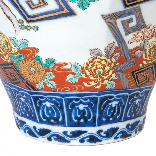 Large 19th Century Imari lidded vase.