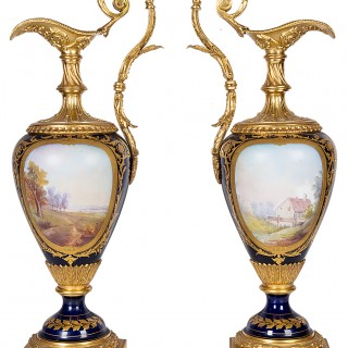 Pair fine Sevres style 19th Century ewers.