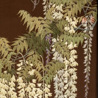 Showa period four fold embroidered screen