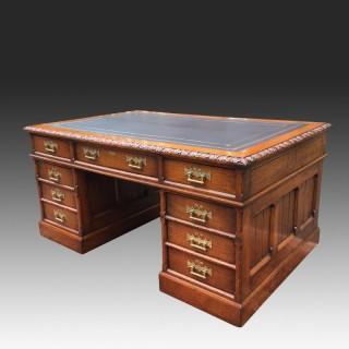 Antique Oak Gothic Revival Panelled Pedestal Desk