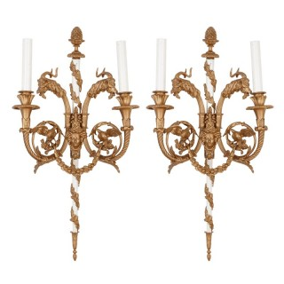 Pair of Louis XV style brass two-light wall sconces