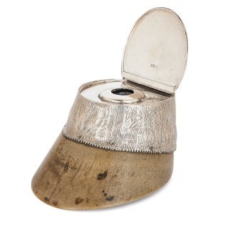 Three sterling silver mounted commemorative horse hoof inkwells