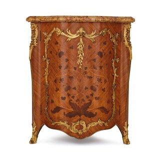 Antique marquetry corner cabinet with gilt bronze mounts by Durand