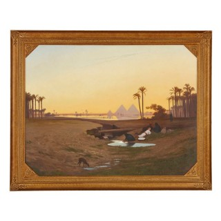 Large Orientalist painting of the pyramids of Giza by Frere