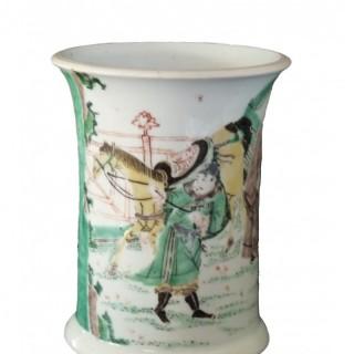 Kangxi Famille Verte Bitong / Brush Pot