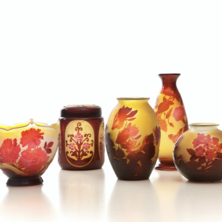 Group of red Galle vases