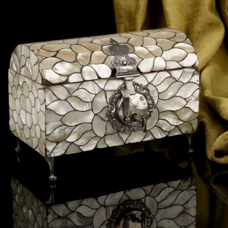 A Spanish Colonial Antique Mother of pearl casket with silver mounts