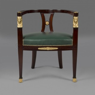 A Fine Empire Style Gilt-Bronze Mounted Mahogany Desk Chair