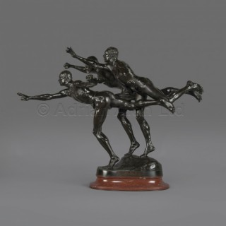 'Au But' (To the Goal)  - A Patinated Bronze Figural Group