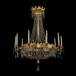 A Louis XVI Style Ten-Light Tent and Bag Chandelier