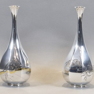 LOVELY PAIR OF JAPANESE SILVER VASES BY MASAYOSHI FOR THE HATTORI COMPANY