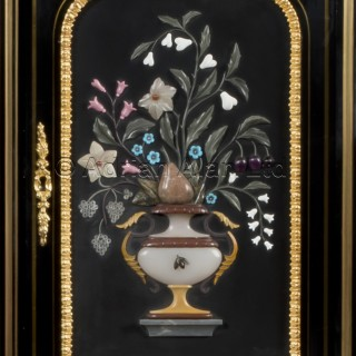 A Louis XVI Style Pietre Dure Mounted  Ebonised Writing Table