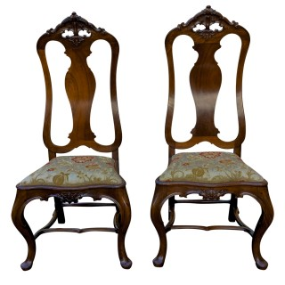 Antique Pair of Portuguese High Back Chairs