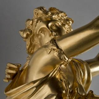 A Napoleon III Gilt-Bronze and White Marble Three-Piece Garniture