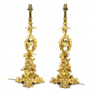 Antique Pair French Ormolu Cherub Candelabra Table Lamps C1870