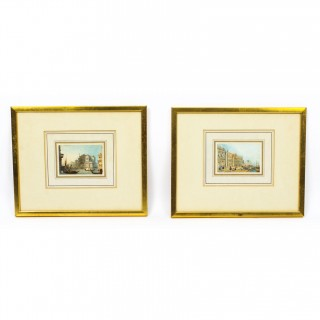 Antique Pair of Miniature Watercolours by Samuel Prout Early 19th century