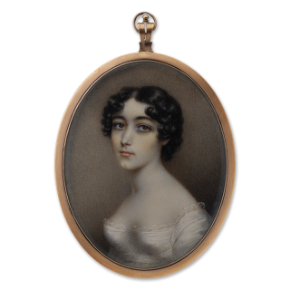 A portrait miniature of the artist's daughter, probably Selina Plimer (1809-1841), wearing a white dress with lace edging