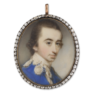 Col. Sir Philip Ainslie (1728-1802), wearing blue coat with lace 'Van Dyke' style collar, c. 1772