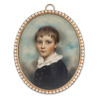 A young Boy called 'Master Park', wearing blue suit with brass buttons and white frilled collar, c. 1790