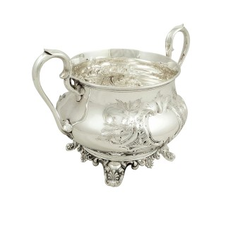 Antique Victorian Sterling Silver 2 Handle Bowl 1857