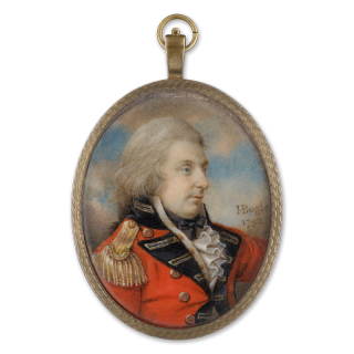 Portrait miniature of an Officer, wearing scarlet coat with black facings and gold epaulette, 1792