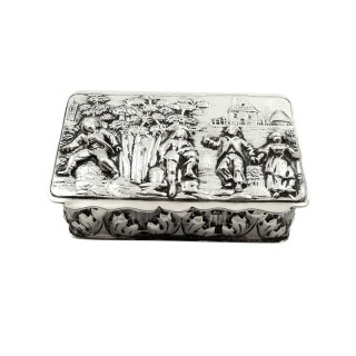 Antique Edwardian Sterling Silver Snuff Box 1908