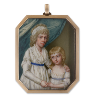 A portrait of a Mother and her daughter, similarly attired in white dresses with lace trim and blue waistbands, the mother wearing a white bandeau, green curtain background, c.1795