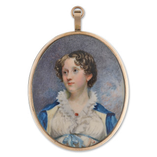 A young Lady, wearing white dress with blue satin ribbon tied under the bust, ruby brooch at her corsage, her blue cloak with pale yellow lining, c.1815