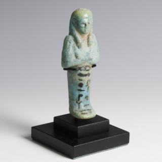 Blue Faience Shabti with Vivid Black Hieroglyphs