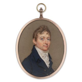 John Goldingham, FRS (1767-1849), wearing dark blue coat with brass buttons, white waistcoat and frilled shirt, dated 1808