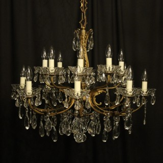 Italian Bronze & Crystal 16 Light Chandelier