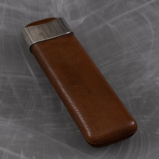Pigskin Cigar Case with Silver Collar