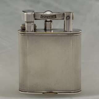 Silver Plated Dunhill Lighter with Engine Turned Finish