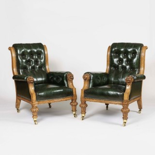 A Pair of St James's Club Library Armchairs